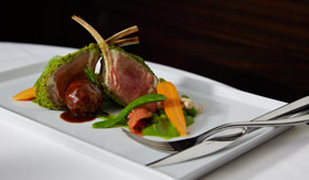 Rack of lamb meal aboard Celebrity Summit