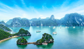 Celebrity Cruises Boats in Halong Bay in Vietnam