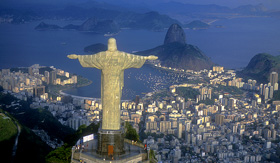 Celebrity Cruises aerial view of christ symbol of Rio de Janeiro standing on top of Corcovado hill