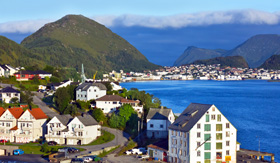 Celebrity Cruises Alesund Norway sea view on island in Norwegian Fjords