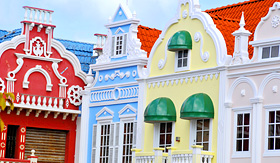 Celebrity Cruises buildings in center square Oranjestad Aruba Caribbean