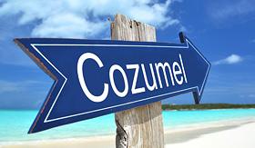 Celebrity Cruises Cozumel sign on the beach