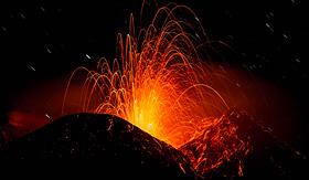 Celebrity Cruises Mt - Etna eruption at night