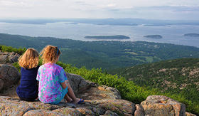 Celebrity Cruises girls overlooking Bar Harbor Maine from Cadillac Mountain