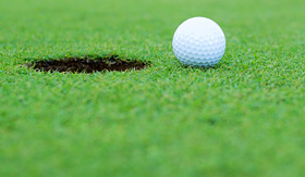 Celebrity Cruises golf ball near hole on putting green