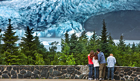 Celebrity Cruises group of friends looking out over Mendenhall Glacier
