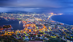 Celebrity Cruises Hakodate Japan illuminated at night
