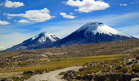 Celebrity Cruises Payachata Volcanic group at Lauca Park Chile