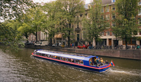 Celebrity Cruises taking a canal boat ride in Amsterdam