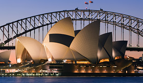 Celebrity Cruises view of Sydney Opera House at night
