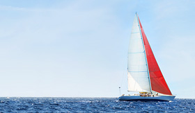 Crystal Cruises sailboat in the open ocean
