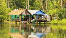 Crystal Cruises stilt houses Ream National Park Cambodia