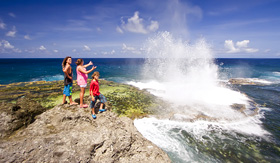 Crystal Cruises tourists observing Houma Blowholes