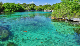 Crystal Cruises Tropical lagoon of Xel Ha Ecological Park in Mexico