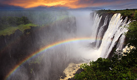 Crystal Cruises Wictoria Falls sunset with rainbow Zambia