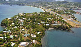 Cunard Line aerial shot of Castries the capital of St Lucia