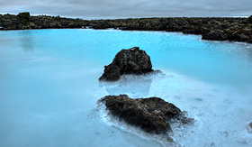 Cunard Line beautiful famous blue lagoon in Iceland