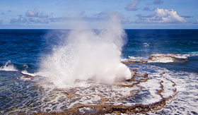 Ccunard Line blowholes on the western side of Tongatapu Island in the pacific
