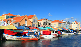 Cunard Line Floating market in Willemstad, Curacao