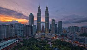 Cunard Line Petronas Twin Towers in Kuala Lumpur, Malaysia