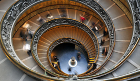 Cunard Line spiral stairwell in the Sistine Chapel museum