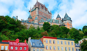Cunard Line colorful buildings and chateau in Frontenac Quebec City