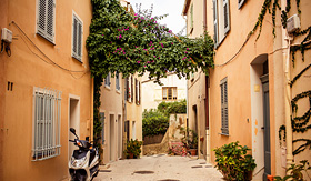 Cunard Line view of street in Saint Tropez French Riviera