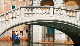 Europe Cruisetours Gondola ride towards bridge in Venice,Italy