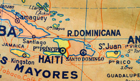 Map of Cuba and Dominican Republic