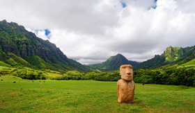 Hawaii Cruisetours Easter island head on Kualoa Ranch, Oahu, Hawaii