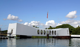 Hawaii Cruisetours U.S.S. Arizona Memorial at Pearl Harbor in Honolulu, Hawaii