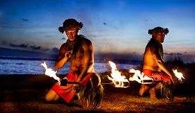 Fire dancers at a Hawaiian luau