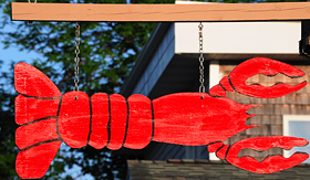 Holland America Line a hanging lobster sign in Bar Harbor Maine