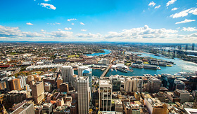 Holland America Line aerial view of Darling Harbour Sydney Australia