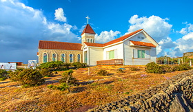 Holland America Line church in Seopjikoji Mount Jeju Island South Korea