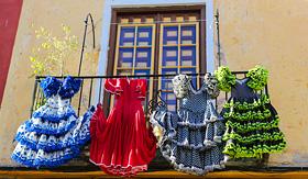 Holland America Line flamenco dresses at a house in Malaga Andalusia Spain