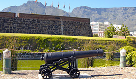 Holland America Line old cannon in Castle of Good Hope Cape Town South Africa