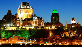 Holland America Line Quebec City skyline at dusk over river