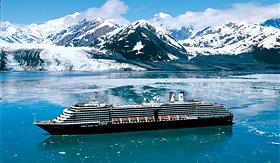 Holland America Line ship cruising past Alaska glaciers
