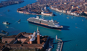 Holland America Line ship entering Venice waterways