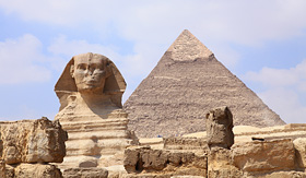 Holland America Line sphinx and pyramid in Giza unesco world heritage Egypt
