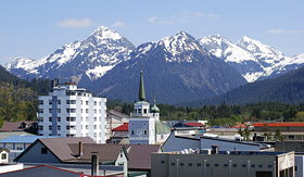 Holland America Line the view of Sitka downtown Alaska