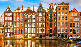 Holland America Line traditional old buildings in Amsterdam the Netherlands