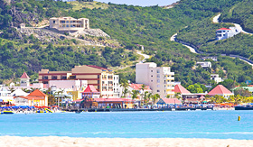 Holland America Line view of beach ocean and landscape in St Maarten