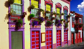 MSC Cruises Santa Cruz de la Palma colonial flowers house facades in Canary Islands
