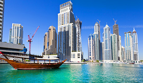 MSC Cruises view of Dubai and a boat on a beatuiful clear day