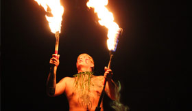 Fire dancer in French Polynesia