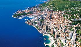 Norwegian Cruise Line aerial view of Monacos coastline