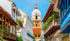 Norwegian Cruise Line balconies leading to the cathedral in Cartagena Colombia