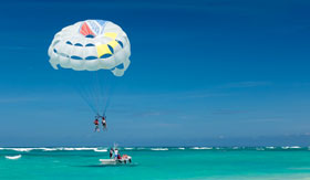 Parasailing over blue water in St. Thomas